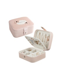Fashion Nude Powder Button Portable Multifunctional Pu Leather Jewelry Box