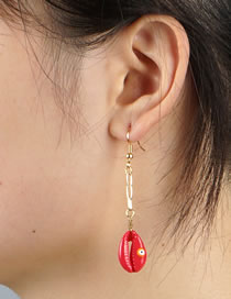 Fashion Red Natural Shell Drop Oil Eye Alloy Earrings