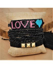Fashion Suit Black Rice Bead Braided Love Studs Letter Crystal Bead Bracelet Set