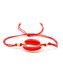 Fashion Red Oil Drop Shell Gold Beads Woven Adjustable Bracelet