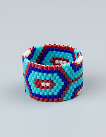 Fashion Blue Contrast Rice Beads Hand-woven Wide-brimmed Ring