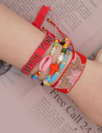 Fashion Suit Piece Red Natural Freshwater Pearl Shell Cross Rice Pearl Woven Letter Bracelet Set