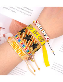 Fashion Suit Yellow Rice Beads Hand-woven Love Sunshine Ribbon Five-pointed Star Bracelet Set