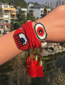 Fashion Suit Red Hand-woven Millet Beads Eye Beaded Bracelet Set