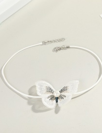 Fashion White Lace Butterfly Pearl Mesh Necklace