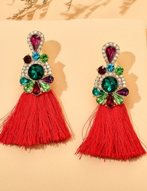 Fashion Red Alloy Diamond Tassel Geometric Earrings