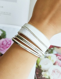 Fashion White Pu Leather Rope Diamond Multi-layer Bracelet