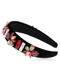 Fashion Color Diamond Flower Flower Broad-band Sponge Hair Band