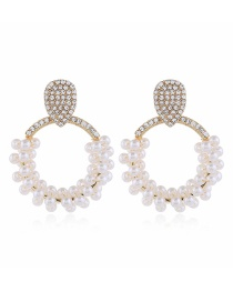 Fashion White Diamond Round Pearl Earrings With Diamonds