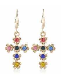 Fashion Color Flower Cross Diamond Earrings