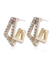 Fashion Yellow Diamond-cut Geometric Alloy Hollow Earrings