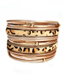 Fashion Yellow Pu Leather Leopard Alloy Magnetic Buckle Multi-layer Bracelet