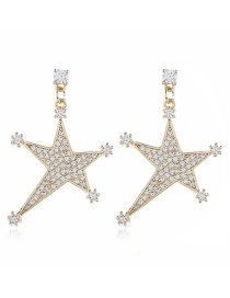 Fashion Yellow Diamond Star Alloy Irregular Earrings