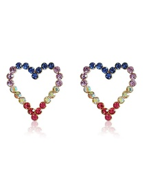Fashion Color Heart-shaped Diamond Earrings