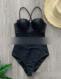 Fashion Black Solid Color One-piece Swimsuit With Lace Suspenders