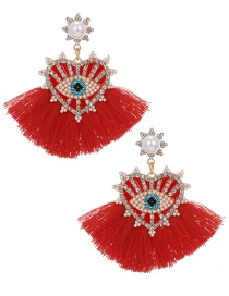 Fashion Red Love Tassel Earrings With Alloy Diamonds