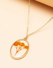 Fashion Golden Dried Flower Acrylic Pendant Alloy Necklace