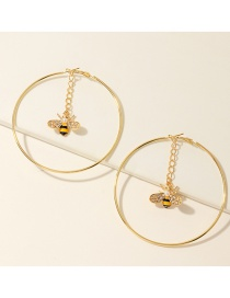 Fashion Golden Large Circle Round Diamond Bee Pearl Alloy Earrings