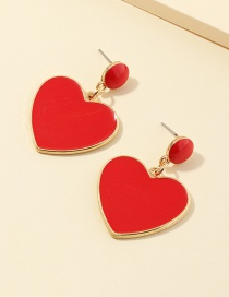 Fashion Red Love Dropping Alloy Earrings