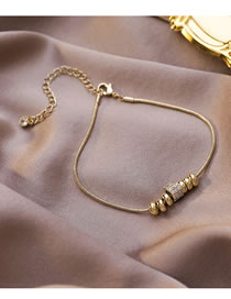 Fashion Champagne Gold Zircon Small Waist Geometric Round Bracelet