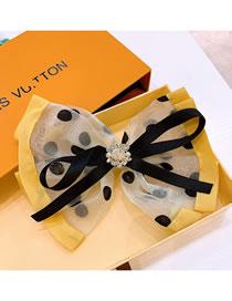 Fashion Yellow Polka Dot Organza Colorblock Rhinestone Bow Hairpin