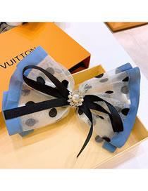 Fashion Blue Polka Dot Organza Colorblock Rhinestone Bow Hairpin