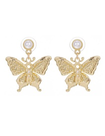 Fashion Golden 3 Copper Pearl Butterfly Stud Earrings