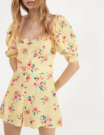 Fashion Yellow Floral Printed Belt Jumpsuit