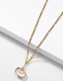 Fashion Golden Natural Freshwater Pearl Gilt Shell Alloy Necklace