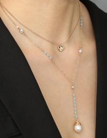 Aleación De Cristal De Perlas De Cuerda Manual Collar De Múltiples Capas