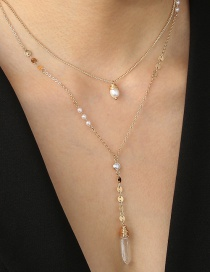 Fashion Golden Transparent Natural Stone Pearl Alloy Double Necklace