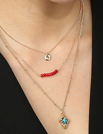 Fashion Golden Shaped Turquoise Alloy Coral Multilayer Necklace