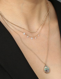 Fashion Golden Natural Abalone Shell Drop Water Drop Diamond Alloy Multilayer Necklace