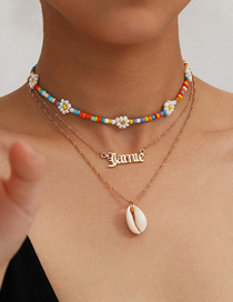 Fashion Golden Letters Contrast Color Beaded Handmade Shell Rice Beads Multi-layer Necklace