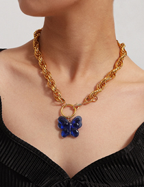 Fashion Golden Twist Chain Geometric Big Butterfly Single Layer Necklace