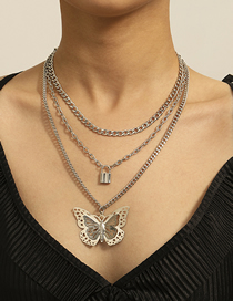 Fashion White K Geometric Three-dimensional Hollow Butterfly Lock Necklace