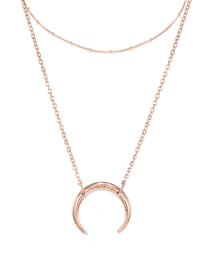 Fashion Rose Gold Round Stainless Steel Geometric Multi-layer Necklace