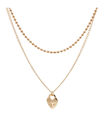 Fashion Golden Alloy Heart-shaped Round Bead Hollow Multi-layer Necklace