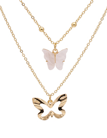 Fashion White Alloy Butterfly Resin Hollow Multi-layer Necklace