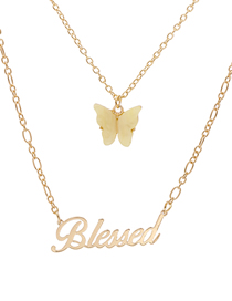 Fashion Yellow Butterfly Letter Resin Alloy Multilayer Necklace