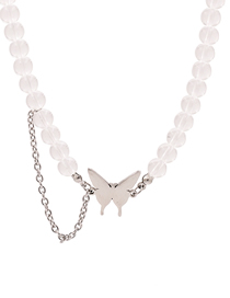 Fashion Silver Butterfly Transparent Crystal Chain Necklace