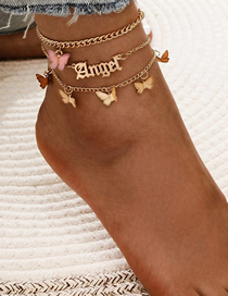 Fashion Pink Alloy Butterfly Resin Alphabet Multilayer Anklet