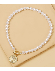 Fashion White Pearl Coin Embossed Head Pendant Necklace