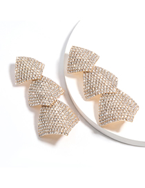 Fashion Golden Multilayer Curly Square Alloy Studded Earrings