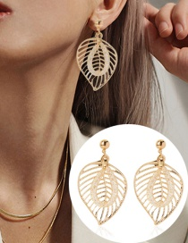 Fashion Golden Leaf Hollow Alloy Mesh Crystal Earrings