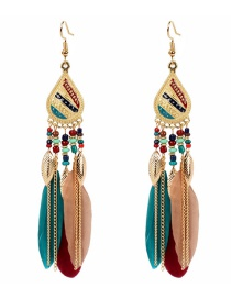 Fashion Color Mixing Feather Beaded Leaf Drop Alloy Earrings