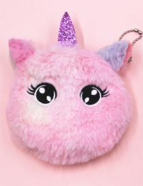Fashion Big Eyes Pink Unicorn Cat Embroidery Children Plush Coin Purse