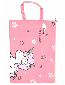 Fashion Pink Unicorn Canvas Unicorn Printed Waterproof Tote Bag