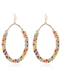 Fashion Oval Color-contrasting Geometric Winding Rice Bead Braided Alloy Earrings