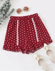 Fashion Red High-waist Polka-dot Fungus Elasticated Hem Pants